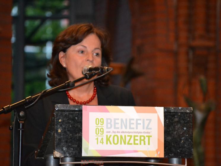 Bundesdrogenbeauftragte Marlene Mortler begrüßt zum Benefizkonzert anlässlich des Tags des alkoholgeschädigten Kindes 2014