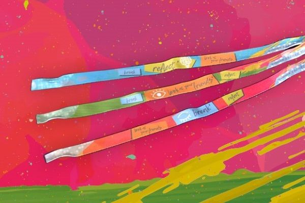 Armbändchen mit den risflecting-Botschaften Break-Look at your friends-reflect